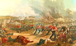 Wiltshire Regiment - Battle of Ferozeshah- Depiction of the 62nd Regiment on the second day of the battle by Henry Martens. 62nd evident by the buff colour of the flag and of the facings of the British regulars shown. The figures in the foreground are likely member's of the regiment's light company.
