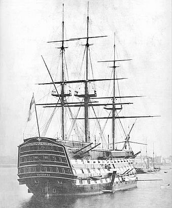 HMS Victory in 1884, the only surviving example of a ship of the line Battleship1.jpg