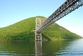 Bear Mountain Bridge, NY from river level loking East.JPG