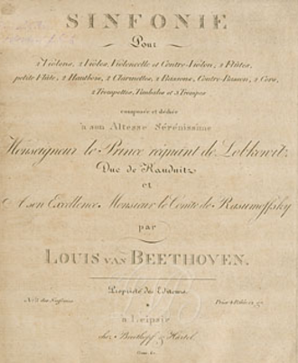 Symphony No. 5 (Beethoven) - Cover of the symphony, with the dedication to Prince J. F. M. Lobkowitz and Count Rasumovsky