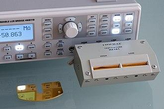LCR meter - Benchtop LCR meter with 4-wire (Kelvin sensing) fixture