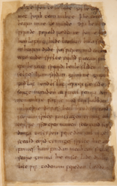 Colour photograph of folio 158r of the Beowulf manuscript