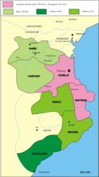 The county of Barcelona 801 (dark green)