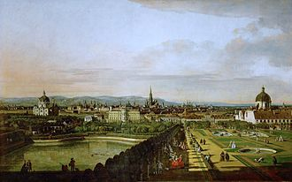 Belvedere, Vienna - View of the gardens seen from the Upper Belvedere, painted by Canaletto in 1758