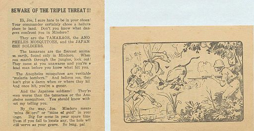 WWII pamphlet warning soldiers against Tamaro, Mosquitos and Japanese Soldiers