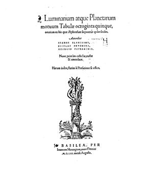 Giovanni Bianchini - Luminarium atque planetarum motuum tabulae, 1553