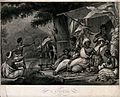 Black people gathering outside a hut, a man sitting on a lio Wellcome V0047921.jpg