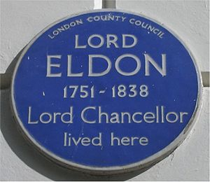 John Scott, 1st Earl of Eldon - Blue plaque in Bedford Square, London.