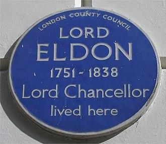 John Scott, 1st Earl of Eldon - Blue plaque in Bedford Square, London.