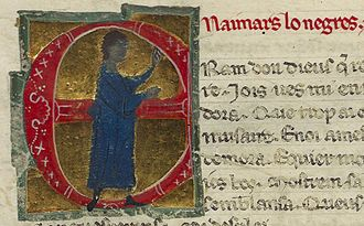 Ademar lo Negre - In his vida, he is called N'Aimars lo Negres (Lord Aimar the Black), which is the text in red next to his picture.