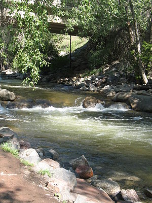 Boulder Creek, in Boulder, Colorado, just east...