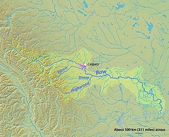 Bow River - Image: Bowrivermap