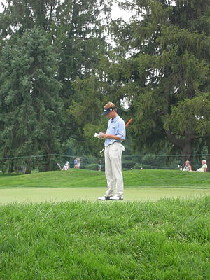 Brad Faxon on the 8th green of the Congression...