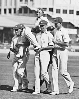 21-year-old Don Bradman is chaired off the cricket pitch after scoring a world record 452 runs not out in 1930. Sporting success lifted Australian spirits through the Depression years. Bradman chaired.jpg