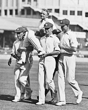 Don Bradman - Bradman is chaired off the ground by his opponents after scoring 452.