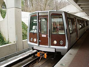 Washington Metro rolling stock - A train of 2000-series Breda cars at Huntington following rehabilitation.