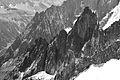 Brenva ridge from Punta Helbronner, 2010 July, bw.JPG