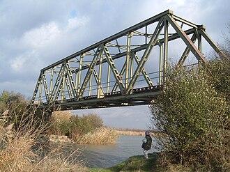 Great Bačka Canal - Old railway bridge across Great BačkaCanal near Nadalj.