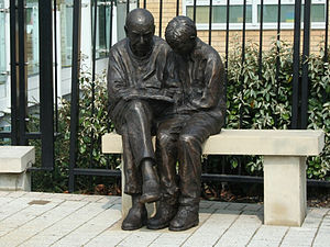 Queen Mary's Hospital - Bronze sculpture of Dickie and Sam by Brian Alabaster ARBS outside Queen Mary's Hospital Roehampton