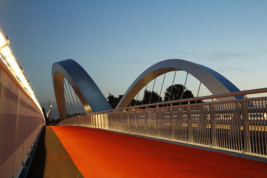 Nieuwe brug bij Briegden (Lanaken) over het Albertkanaal. Detailfoto