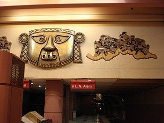 Los Incas - Parque Chas (Buenos Aires Underground) - Image: Buenos Aires Subte Linea B Estacion Los Incas Decoracion