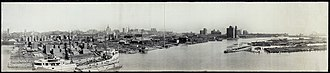 Buffalo, New York - Panorama of downtown Erie in 1901, looking east into the inner harbor
