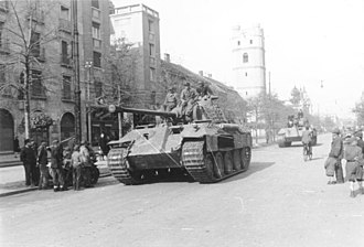 Battle of Debrecen - German Panther tank in the city of Debrecen in October 1944