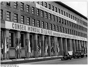 "Agent of influence - This is a picture of the Ministry of Finance in East Berlin, adorned for a session of the World Peace Council on May 24, 1954. The German Federal Archive notes that the original caption, which describes the ""extraordinary"" session, may in retrospect be ""erroneous, biased, obsolete or politically extreme."""