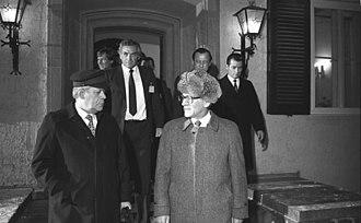 Ostpolitik - Brandt's successor Helmut Schmidt with East German party leader Erich Honecker, Döllnsee 1981
