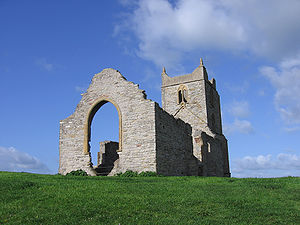 The ruins of St Michael's Church, from near the top of Burrow Mump, UK.