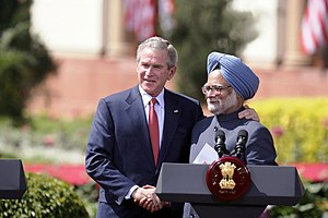 India–United States Civil Nuclear Agreement - U.S. President George Bush and India's Prime Minister Manmohan Singh exchange handshakes in New Delhi on March 2, 2006.