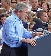 Bush speaking at campaign rally in St. Petersburg, Florida, October 19, 2004