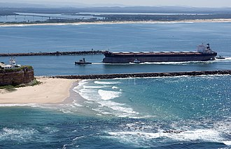 Port of Newcastle - A bulk carrier entering the Port of Newcastle