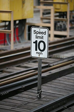 Speed limit sign on the Chicago elevated.