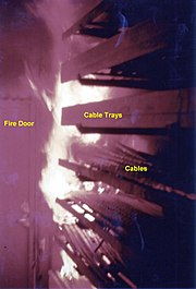 Fire test in Sweden, showing rapid fire spread through burning of cable jackets from one cable tray to another.