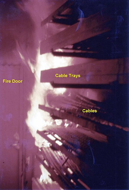 Fire test in Sweden, showing fire rapidly spreading through the burning of cable insulation, a phenomenon of great importance for cables used in some installations. Cable tray fire sweden.jpg