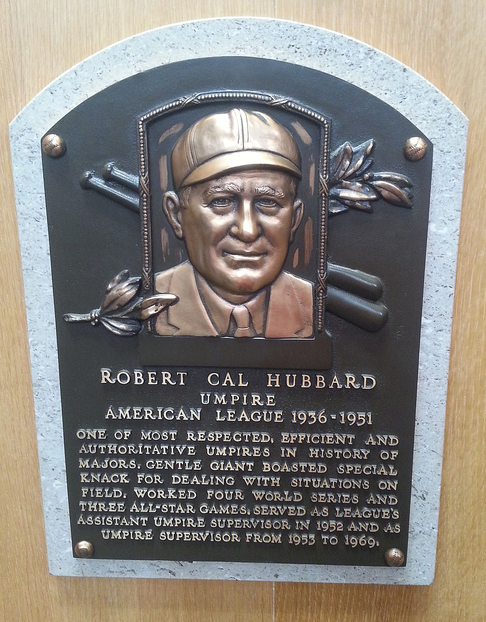 Cal Hubbard plaque