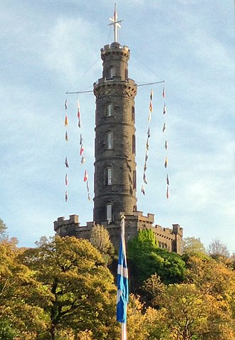 Nelson Monument, Edinburgh - Flags fly from the Nelson Monument on Calton Hill on Trafalgar Day 2013