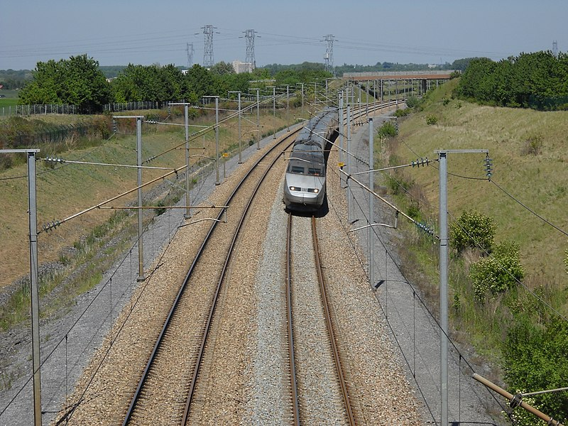 Paris-Lille high speed railway in Camphin-en-Carembault, Nord, France.