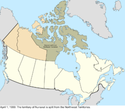 Map of the change to Canada on April 1, 1999