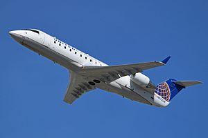 Laramie Regional Airport - A United Express CRJ-200.