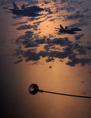 Canadian F-18 Aircraft Awaiting Refuelling from RAF VC10 Tanker MOD 45155224.jpg