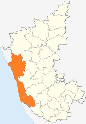 Kanara - Canara region shown in Saffron