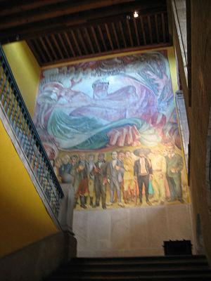 """Museo de la Secretaría de Hacienda y Crédito Público - Mural """"Canto a lo Heroico"""" by Jose Gordillo in the main stairwell."""