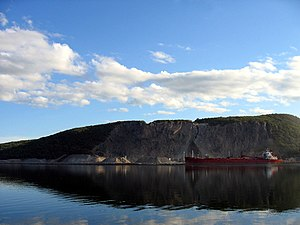 Strait of Canso - Oceangoing vessel loading rock at Cape Porcupine in the Strait of Canso