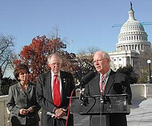 Ben Cardin - Rep. Cardin (at podium) joins Reps. Roscoe Bartlett (center) (R-MD) and Jo Ann Davis (left) (R-VA) in calling for a study of homeland security needs of the National Capital region, including Maryland, Virginia and the District of Columbia.
