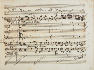 Carlo re d'Allemagna - First page of the trio that concludes the opera