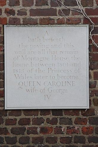 Montagu House, Blackheath - Image: Caroline of Brunswick plaque, Greenwich Park