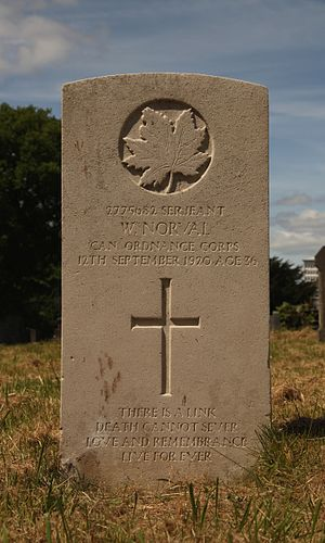 Royal Canadian Ordnance Corps - Grave in Cathays Cemetery, Cardiff of Sgt W Norval, who died in September 1920