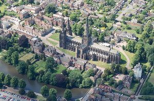 Cathedral Close, Lichfield - The Lichfield Cathedral Close from the air